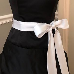 Tiffany Designs Dresses - BLACK SATIN STRAPLESS BALL GOWN WITH WHITE SASH